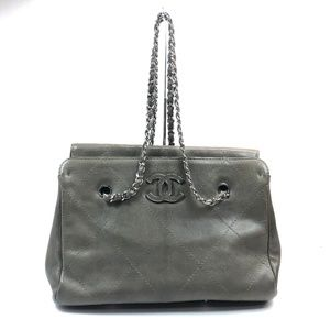 Chanel Shopping Olive Leather Tote